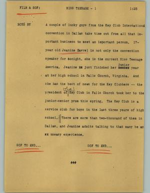 Primary view of object titled '[News Script: Miss teenage]'.