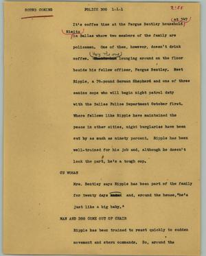 Primary view of object titled '[News Script: Police dog]'.