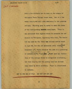 Primary view of object titled '[News Script: Arlington State]'.