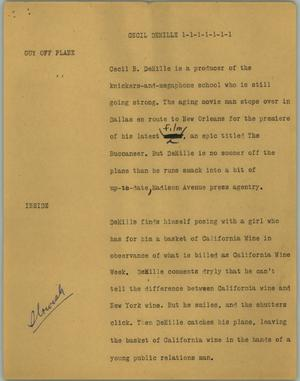 Primary view of object titled '[News Script: Cecil DeMille]'.