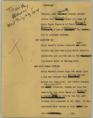 Primary view of object titled '[News Script: Drowning?]'.