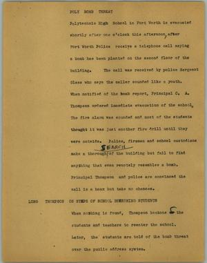 Primary view of object titled '[News Script: Poly bomb threat]'.