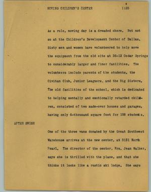 Primary view of object titled '[News Script: Moving children's center]'.