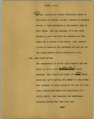 Primary view of object titled '[News Script: Boats]'.
