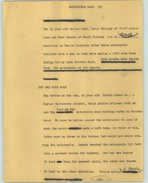Primary view of object titled '[News Script: Motorcycle bash]'.