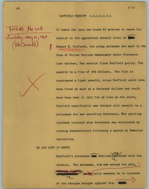 Primary view of object titled '[News Script: Hatfield verdict]'.