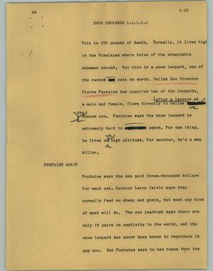 Primary view of object titled '[News Script: Snow Leopard]'.