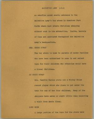 Primary view of object titled '[News Script: Salvation Army]'.
