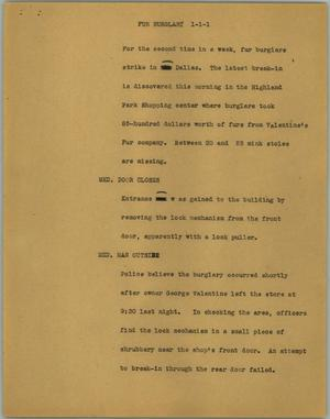 Primary view of object titled '[News Script: Fur burglary]'.