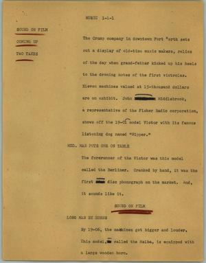 Primary view of object titled '[News Script: Music]'.