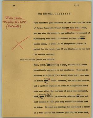 Primary view of object titled '[News Script: Paul Bone trial]'.