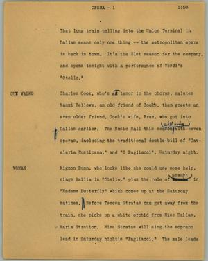 Primary view of object titled '[News Script: Opera]'.