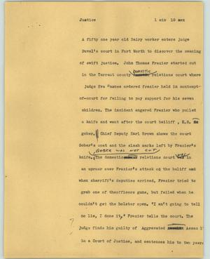 Primary view of object titled '[News Script: Justice]'.