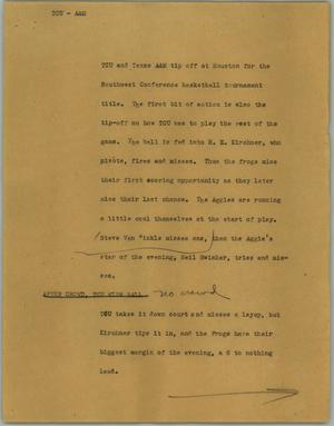 Primary view of object titled '[News Script: TCU - A&M]'.