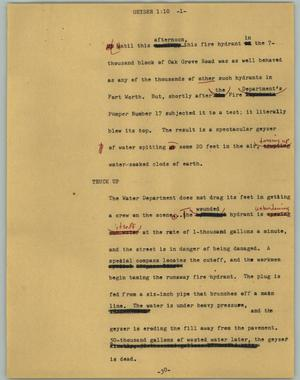 Primary view of object titled '[News Script: Geyser]'.