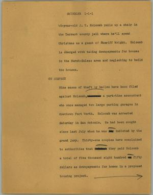 Primary view of object titled '[News Script: Swindler]'.