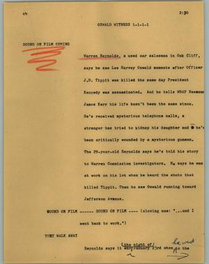Primary view of object titled '[News Script: Oswald witness]'.