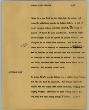Primary view of object titled '[News Script: Dallas court decorum]'.