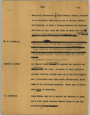 Primary view of object titled '[News Script: Bond]'.