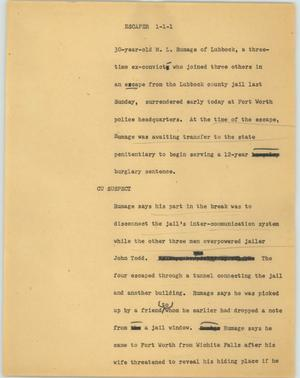 Primary view of object titled '[News Script: Escaper]'.