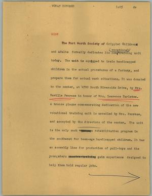 Primary view of object titled '[News Script: Woman honored]'.