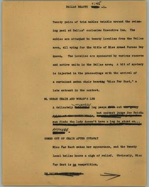 Primary view of object titled '[News Script: Dallas beauty]'.