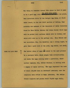 Primary view of object titled '[News Script: Eggs]'.