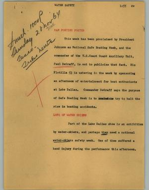 Primary view of object titled '[News Script: Water safety]'.