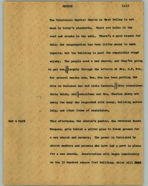 Primary view of object titled '[News Script: Church]'.