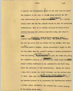 Primary view of object titled '[News Script: Pills]'.