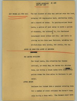 Primary view of object titled '[News Script: Water shortage]'.