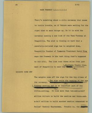 Primary view of object titled '[News Script: Hawn Freeway]'.