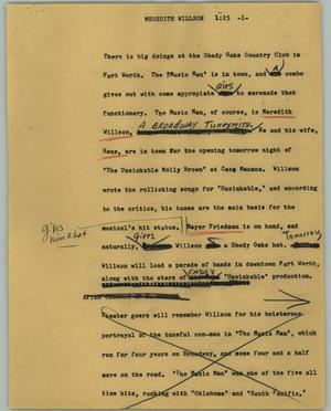 Primary view of object titled '[News Script: Meredith Willson]'.
