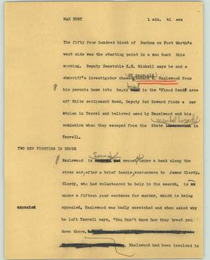 Primary view of object titled '[News Script: Man hunt]'.