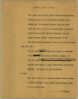 Primary view of object titled '[News Script: Mantle's alley]'.