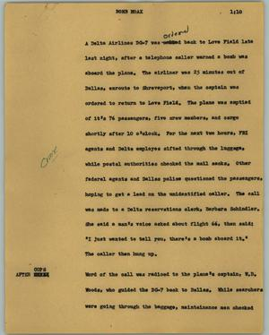 Primary view of object titled '[News Script: Bomb hoax]'.