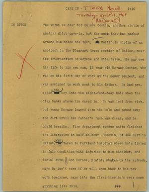Primary view of object titled '[News Script: Cave in]'.