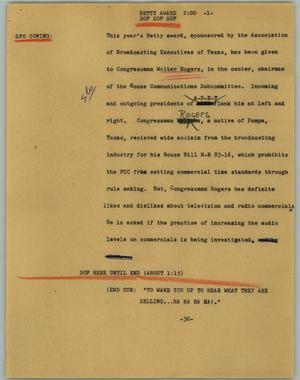Primary view of object titled '[News Script: Betty award]'.