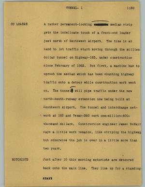 Primary view of object titled '[News Script: Tunnel]'.