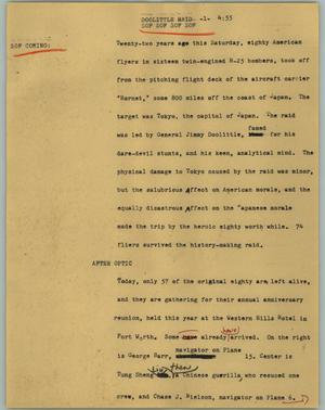 Primary view of object titled '[News Script: Doolittle raid]'.