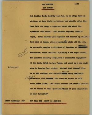 Primary view of object titled '[News Script: Red Skelton]'.