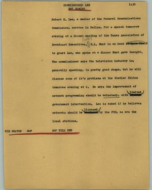 Primary view of object titled '[News Script: Commissioner Lee]'.
