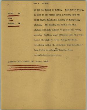Primary view of object titled '[News Script: Dean story]'.