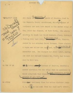 Primary view of object titled '[News Script: Simpson trial]'.