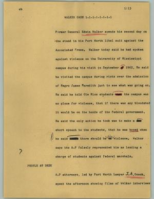 Primary view of object titled '[News Script: Walker case]'.
