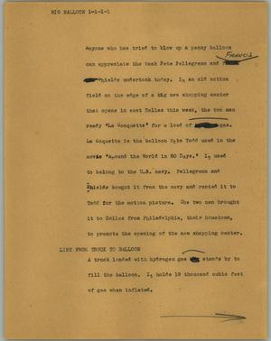 Primary view of object titled '[News Script: Big balloon]'.