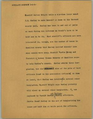 Primary view of object titled '[News Script: Burglary suspect]'.