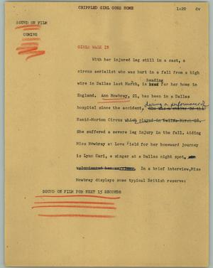 Primary view of object titled '[News Script: Crippled girl goes home]'.