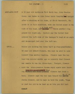 Primary view of object titled '[News Script: Old grandad]'.