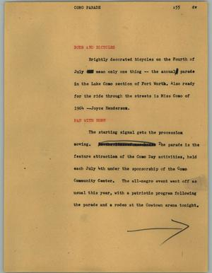 Primary view of object titled '[News Script: Como parade]'.